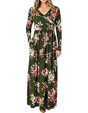 Romacci Women's Wrap V Neck Long Sleeve Floral Print Maxi Dress with Pockets