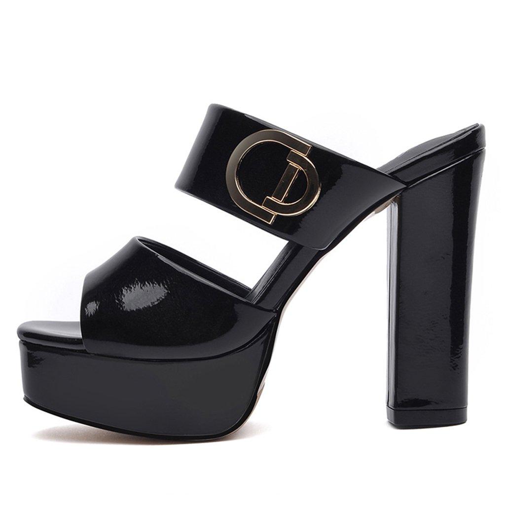 Damenschuhe HWF Sandalen Hausschuhe Hausschuhe Hausschuhe Mode High Heel Damen Sommer Frau (Farbe   Schwarz größe   38) faa242