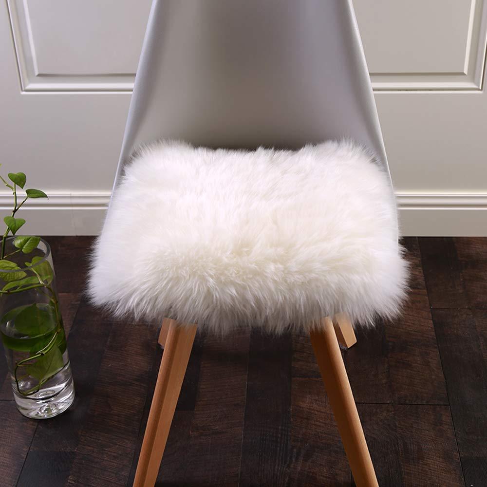 Faux Fur Cushion, Villsure Super Soft Sheepskin Seat Cover White Rugs Car Sofa Chair Pet Pad Throw Area Rug for Auto Office Kitchen Home, 18x18 inch