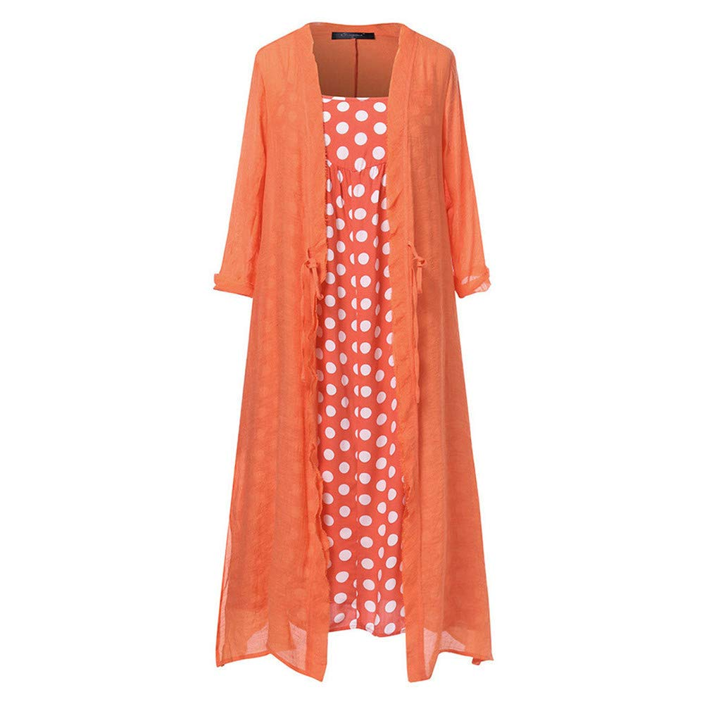Women's Maxi Dresses Long Sleeve Polka Dot Printed Cotton Linen Casual Loose Cardigans 2-Pieces Long Dress Plus Size Red by Qiujold Women's Tops (Image #2)