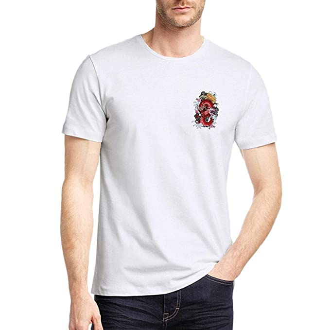 Resplend Camiseta de Manga Corta con Cuello en V de Manga Corta con Estampado geométrico Blanco