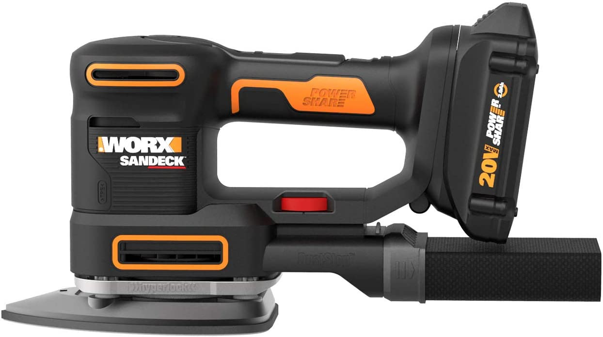 WORX WX820L.2 20V 2.0Ah Cordless Multi-Purpose Sander with 2 Batteries and 1 Charger
