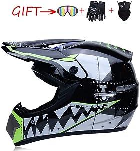 Motocross Helmet ATV Motorcycle Helmet SUV Mask + Goggles + Gloves,Personality Shark Teeth Dirt Bike Downhill Off-Road Mountain Bike Helmet 4-Piece Set Unisex,Black,S