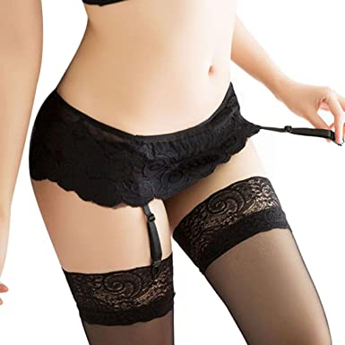 b87b7f8d249cc Amazon.com: YANG-YI Clearance, Womens Lingerie Hot Lace Top Thigh-Highs  Stockings Socks + Suspender Garter Belt (Black, ONE Size): Clothing