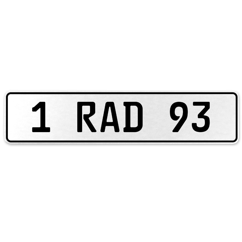 Vintage Parts 554096 1 RAD 93 White Stamped Aluminum European License Plate