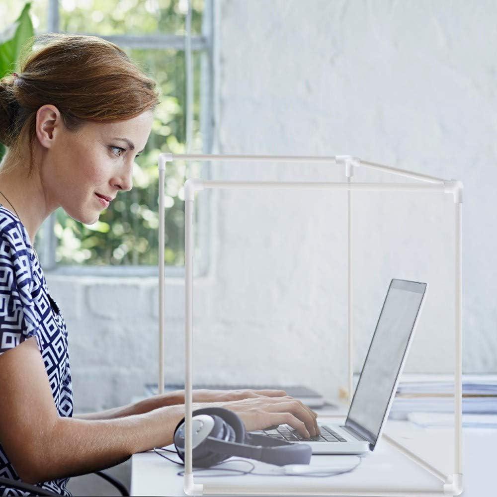 New DIY Desk Partitions Desktop Sneeze Guard, Plastic Classroom Desk Dividers,Transparent Protection partition, Prevent Droplets and Sneeze,Suitable for Office, Classrooms, Restaurants etc. (White)
