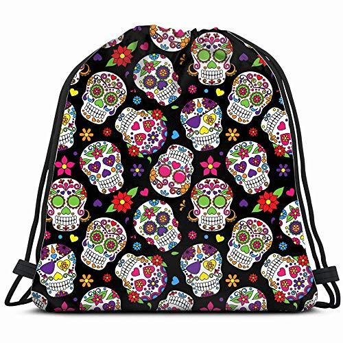 Day Dead Sugar Skull Abstract Religion Drawstring Bag