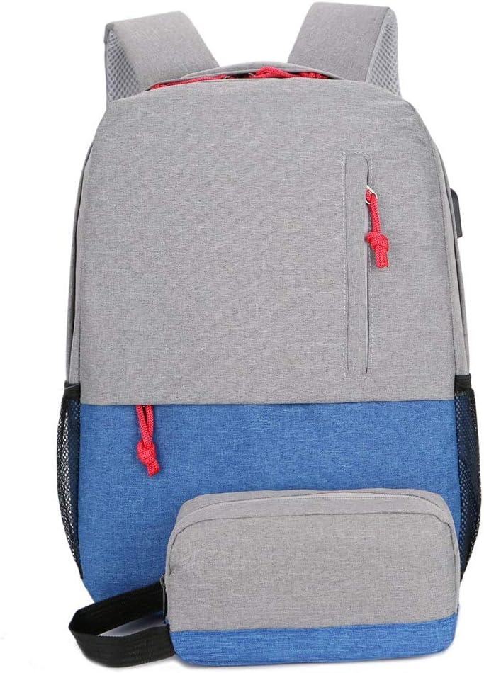 Travel Backpack Outdoor Backpack Shoulder Bag Large Capacity USB Computer Bag Multi-Pocket Bags Color : Blue, Size : L