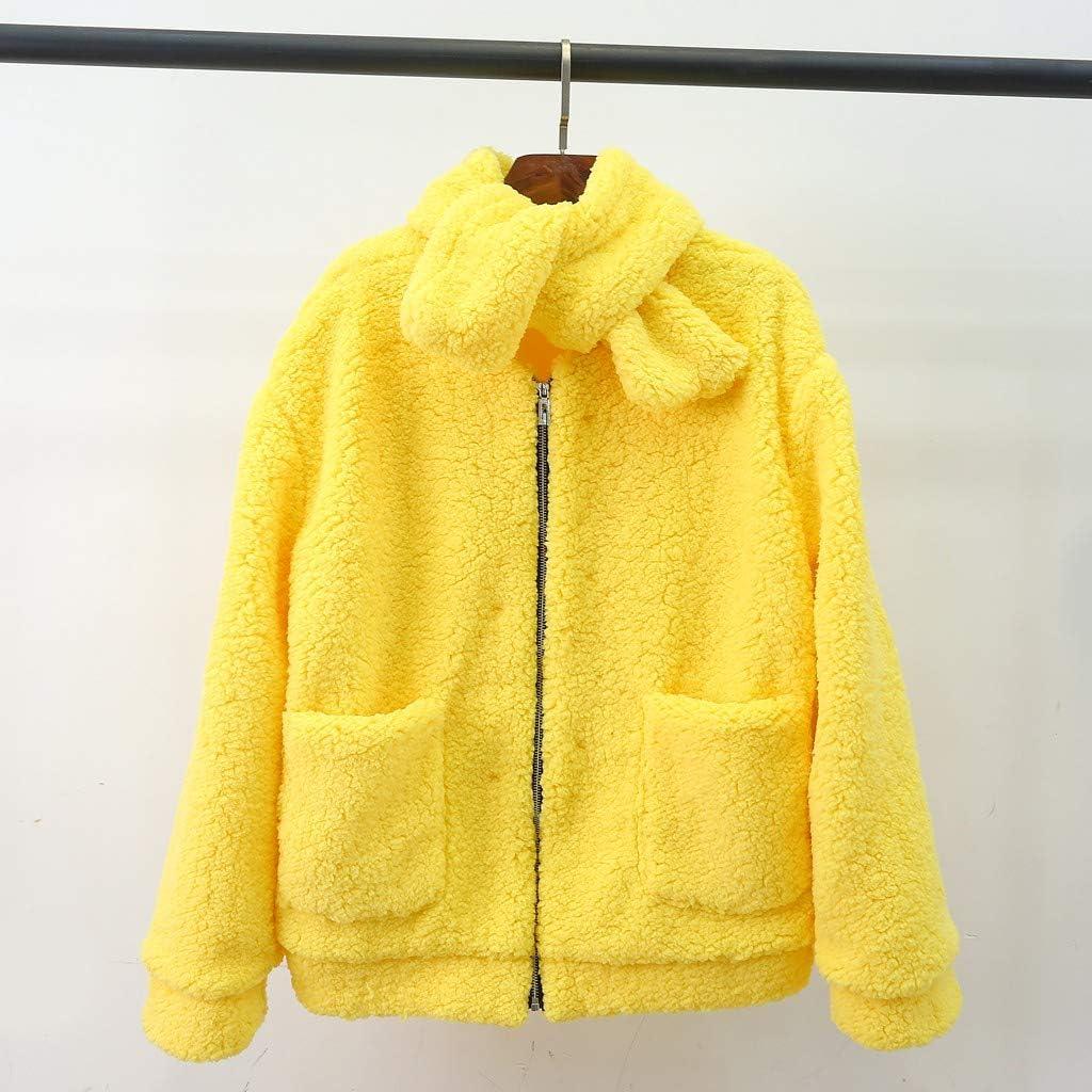 Womens Faux Fur Coat,Jushye Womens Long Sleeve Winter Warm Solid Soft Jacket Overcoat Parka Hooded Outwear Overcoat