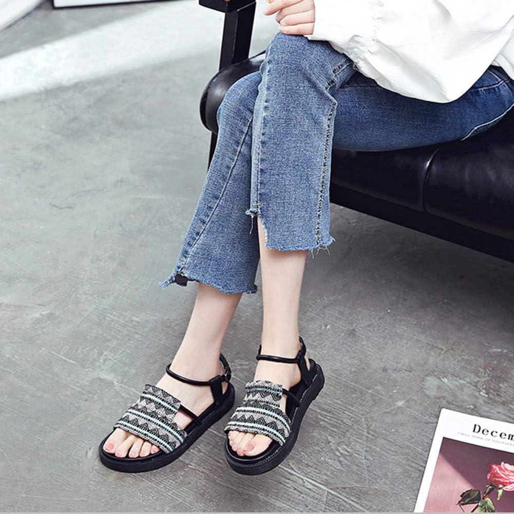 Dytxe-shelf Mujeres Cómodas Diapositivas De Moda Bohemia Beach Slide Mules Summer Soft PU Leather Platform Slide Slippers Travel Sandals Fashion Sandalias Planas para Mujer Negro