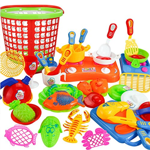 Gotd 35pcs Plastic Kids Children Kitchen Utensils Food Cooking Pretend Play Set Toy