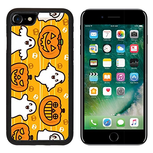 MSD Premium Apple iPhone 7 iPhone7 Aluminum Backplate Bumper Snap Case IMAGE ID: 8084912 Halloween Ghost and Pumpkin (Cute Halloween Wallpaper Iphone)