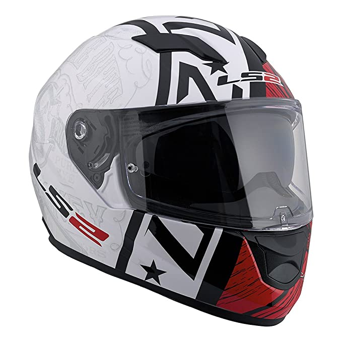 Amazon.com: LS2 Stream Snake Full Face Motorcycle Helmet With Sunshield (Red/White, Small): Automotive
