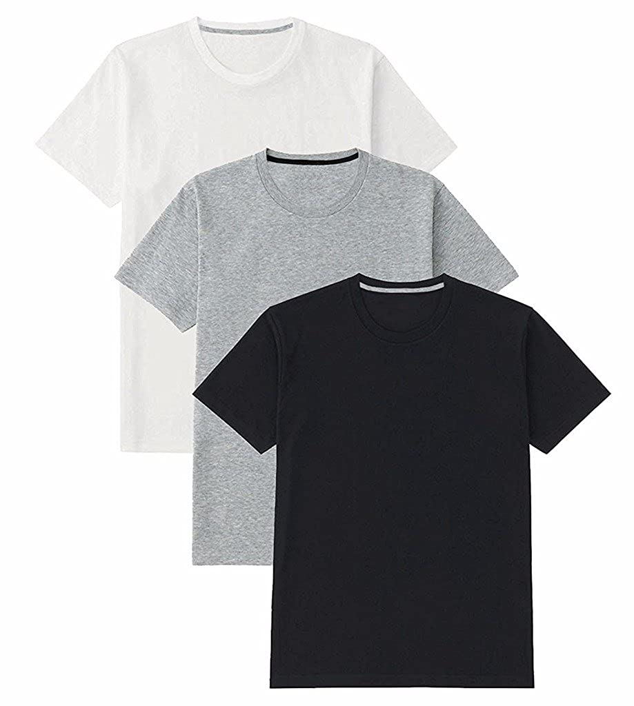 24beb3a5c14 B W Men s Basic Cotton - Round Neck - Half Sleeve Solid Summer T-Shirts -  Pack of 3  Amazon.in  Clothing   Accessories
