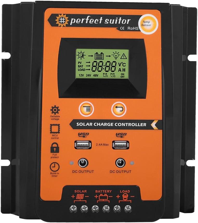 Controlador de cargador solar MPPT, Panel Solar Regulador de Batería Pantalla LCD con doble puerto USB Pantalla 12V / 24V Protección segura (50A)