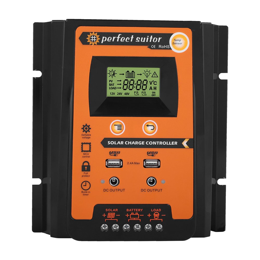 Solar Panel Battery Regulator LCD Display with Dual USB Port Display 12V//24V Safe Protection 50A MPPT Solar Charger Controller