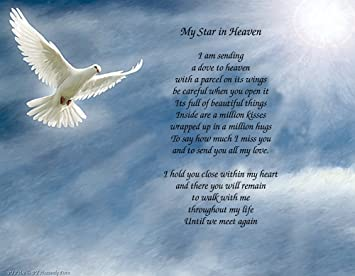 Amazoncom Personalized Bereavement Poetry Gift My Star In Heaven