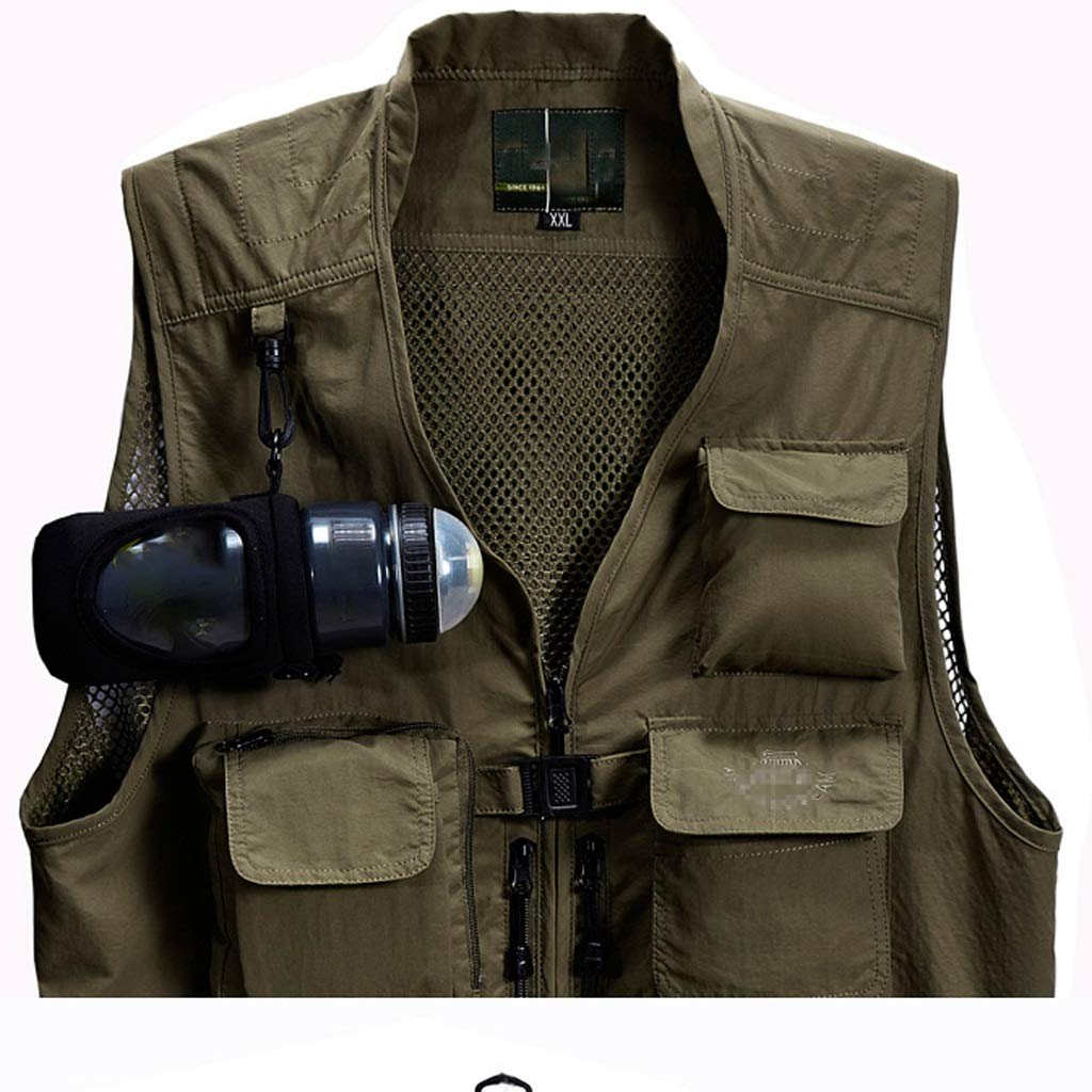 Gilet Uomo Multi-Tasca Tattico Appeso Tazza Multifunzione Giacca Esterna Traspirante out Sottile per Il Campeggio Caccia Pesca xiuyun Color : Khaki, Size : 2XL