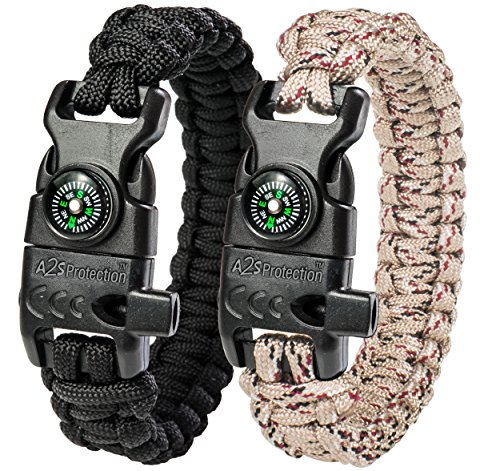 A2S Protection Paracord Bracelet K2-Peak – Survival Gear Kit with Embedded Compass,...