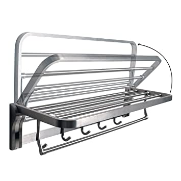 alise bathroom towel rack folding shelf with swing towel bar and 5 hooks heavy duty sus304