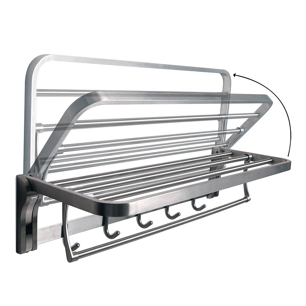Alise Towel Rack Bathroom Folding Shelf with Swing Towel Bar and 5 Hooks Heavy Duty Wall Mount,SUS304 Stainless Steel Brushed Finish
