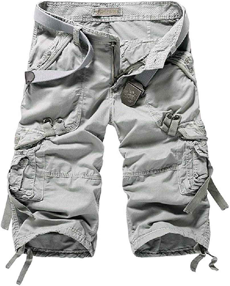 Hakjay Long Cargo Shorts for Men Below Knee Relaxed Fit,3/4 Cargo Shorts with Big Pocket