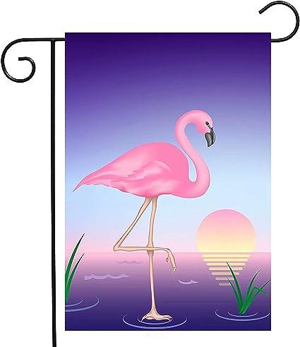 Amazon Com Polyester Garden Flag 12x18 Inches Double Sided Summer Purple Flamingo Moon Bird Tropical Colorful Sunset Water Animal Welcome Home House Outdoor Patio Yard Garden Decorative Garden Outdoor
