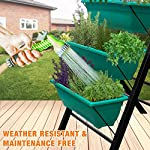 """4-Ft Raised Garden Bed - Vertical Garden Freestanding Elevated Planters 5 Container Boxes - Good Patio Balcony Indoor Outdoor - Cascading Water Drainage to Grow Vegetables Herbs Flowers 12 ✓ EASY TO ASSEMBLE w/ CASCADING DRAINAGE SYSTEM - with easy to follow instructions included, assembly of your vertical garden will be quick and simple. The drainage system lets water flow from the top down to each succeeding row to ensure all plants are adequately watered and no stagnant water remains. ✓ PERFECT TIGHT SPACE SOLUTION - Each hanging plastic box container is 24"""". Provides adequate room for your plants without wasting any precious space in a small apartment, patio, balcony, yard, deck, front porch or any outside area. Grow a variety of herbs, seeds, flowers, succulents or vegetables in just a single area at home. ✓ MODERN ERGONOMICALLY DESIGNED & AESTHETICALLY PLEASING - if you are unable to enjoy gardening due to hip and back issues, this is the product you are looking for. Farmhouse has never been this easy; especially for seniors . Add a unique beauty and style unlike any other to your deck, patio or yard!"""