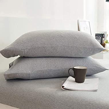 LIFETOWN Jersey Knit Cotton 2 Pieces Pillow Cases Super Soft and Breathable(Queen, Light Gray)