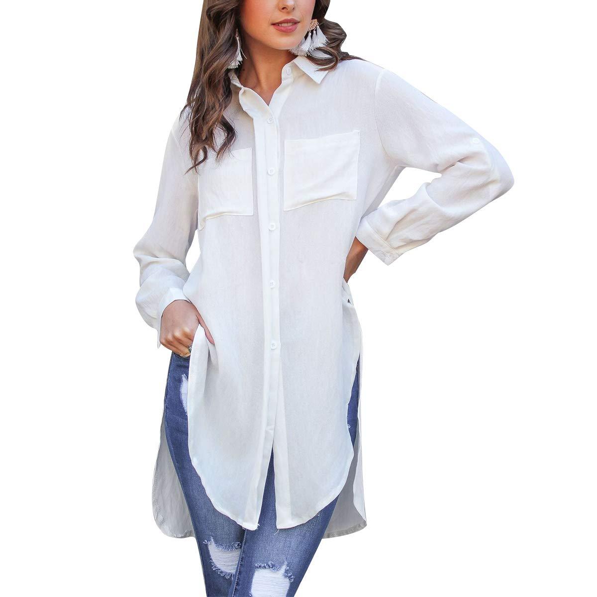 White Flextiicinax Side Split Button Down Shirts Women Lapel Roll Up Long Sleeve Loose Blouse