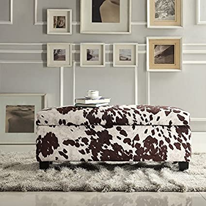 Inspire Q Roman Cow Hide Fabric Storage Bench By Inspire Q