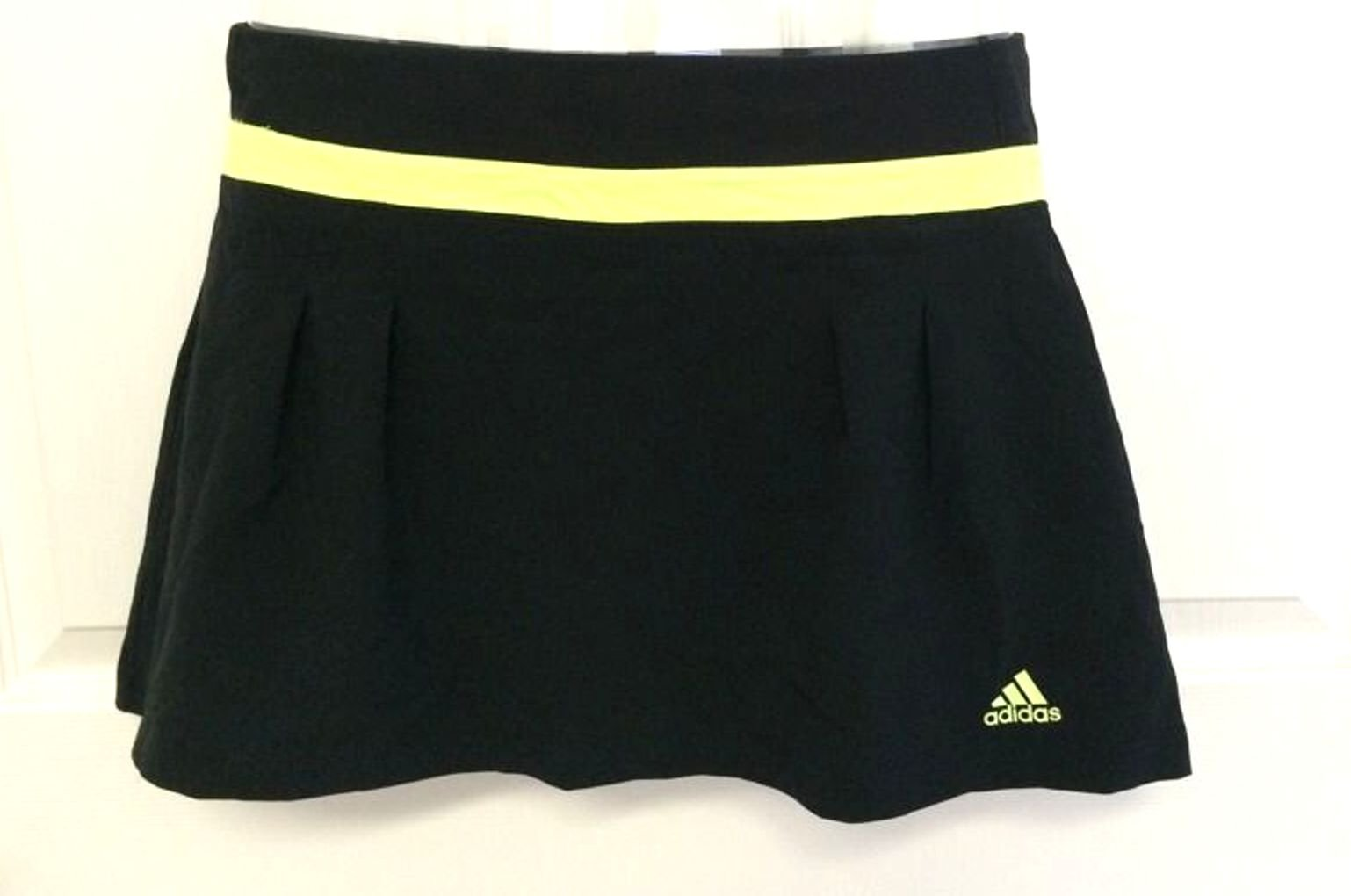 Adidas Climalite Pleated Aline Athletic Skort,Black/Yellow Glow, XL by adidas