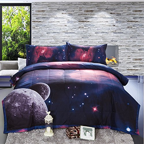 A Nice Night Galaxy Comforter 3D Printing Never Fade Quilt Outer Space Comforter Sets With 2 Matching Pillow (Space Galaxy)