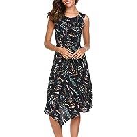 Qearal Women Casual Sleeveless Floral Print Asymmetrical Swing A Line Dress