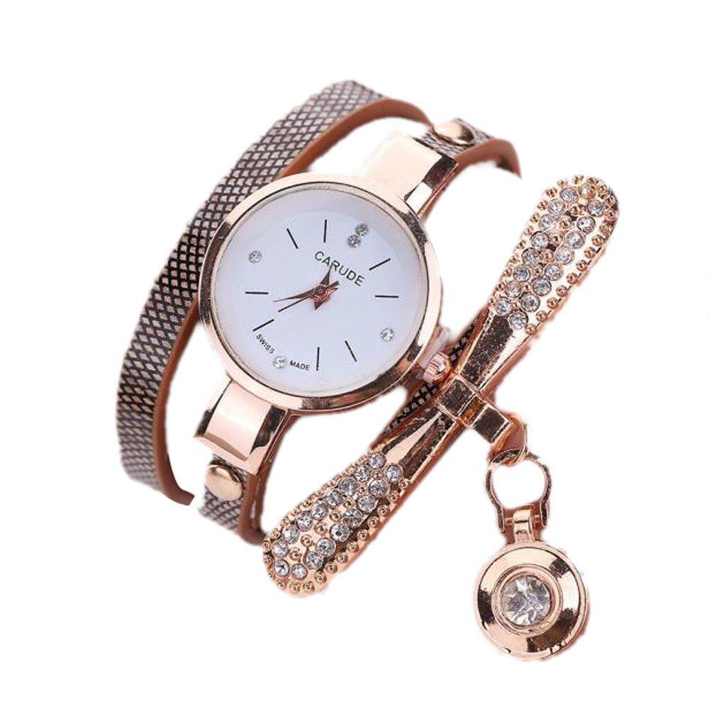 Auwer Women Luxury Multicolor Bracelet Quartz Wristwatch Gift Watches Women Leather Rhinestone Analog Quartz Wrist Watches Girls' Watches Blue Women Watches Prime