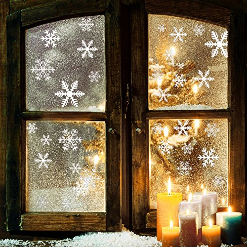 Free Christmas Decals (81-Piece Snowflake Window Clings, Self-Static Non Adhesive Snowflake Decals Snowflake Stickers for Christmas Decorations Snowflake Window Ornaments)