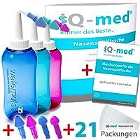 iQ-med Nasendusche 500ml + 21x Salz + Rezeptbuch + 4 Aufsätze (blau)