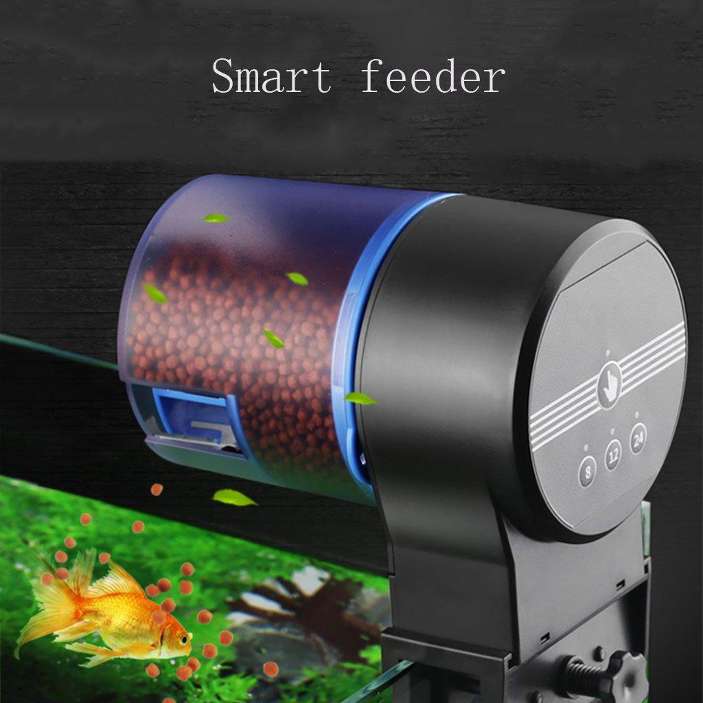 Black Feeder Fish Tank Fish Feeder Koi goldfish Feeder Aquarium Intelligent Timing Remote Control Double Food Container