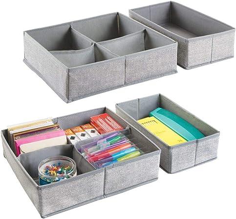 mDesign Juego de 4 cajas organizadoras para oficina con 5 divisiones cada una ? Cajones de tela