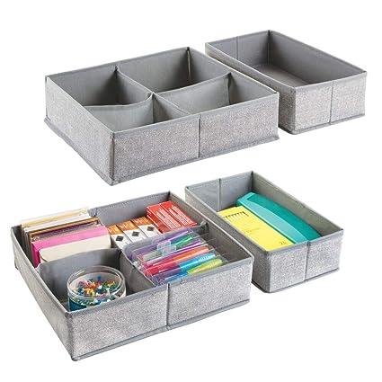 mDesign Juego de 4 cajas organizadoras para oficina con 5 divisiones cada una ? Cajones de tela para agendas, blocs, lápices y más ? Organizador de ...