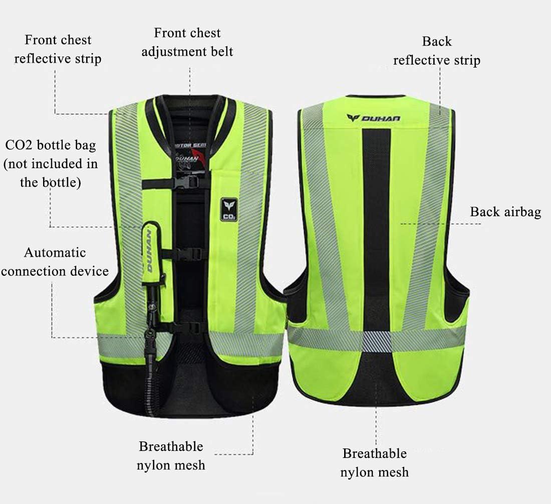 Chaqueta de airbag Peso Ligero Chaleco Reflectante LLC-CLAYMORE Chaleco Airbag de Motocicleta Unisex-Adulto,Green,XL
