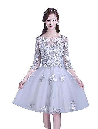 73fa4396109d5 さりげなく美しいフェグレースドレス 編み上げタイプ袖ありショートパーティードレス ワンピース結婚式