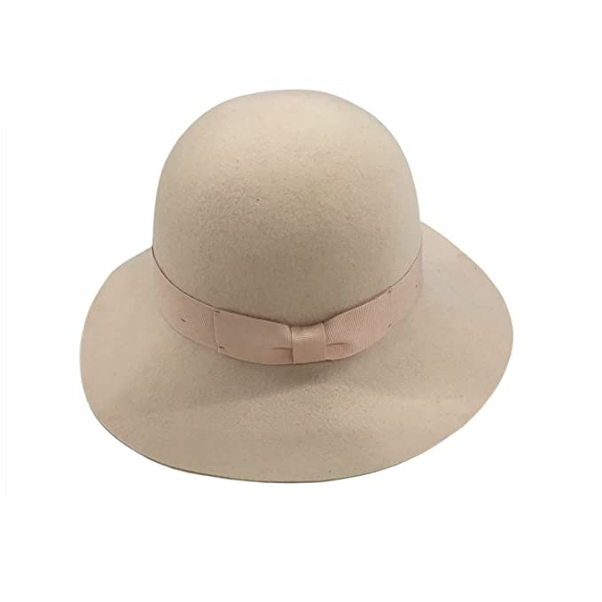 1920s Style Hats Womens Winter Short Brim 100% Wool Cute Bowler Felt Hat (dusty pink) $29.99 AT vintagedancer.com