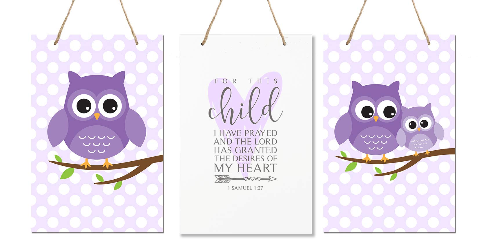 LifeSong Milestones for This Child I Have Prayed 3pc Owl Wall Decor Decorations Hanging Signs for Kids, Bedroom, Nursery, Baby Boys and Girls Room Size 8'' x 12'' 3pc Set (Purple) by LifeSong Milestones
