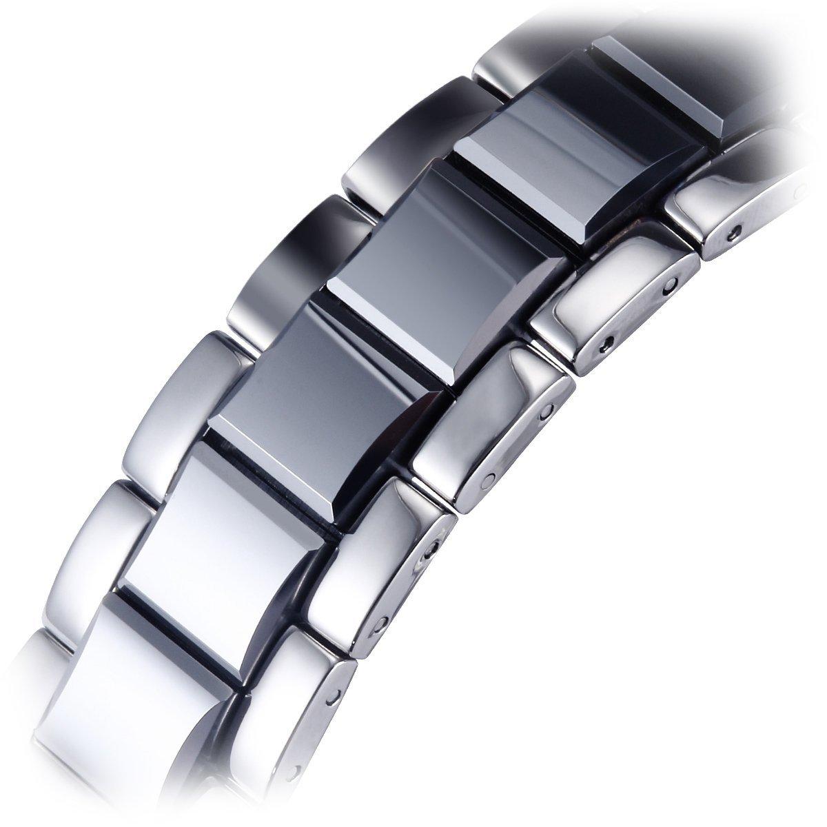 BINLUN kronograf svart vit urtavla volfram klockor för män vintage sport vattentät kvarts klockor vitt datum Vitt