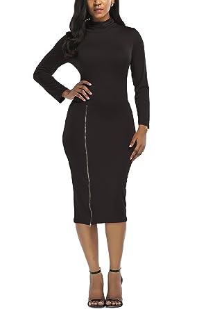 96b261c5dcc WIWIQS Women s Sexy Zip-Front High Neck Bodycon Midi Party Club Dress Small  Black