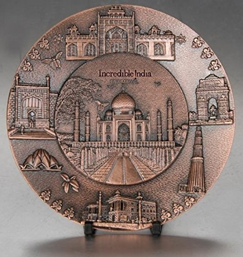 Zap Impex Metal Taj Mahal India Plate Home Decoration, Table decorations