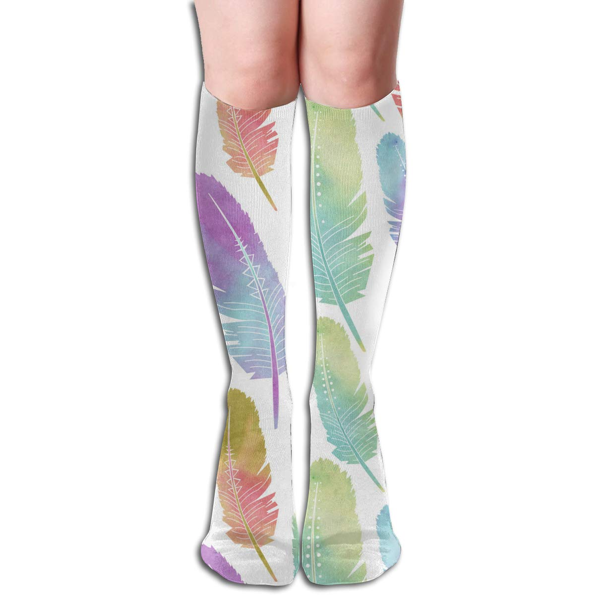 Women Socks Over Knee Feather Winter Cool For Party
