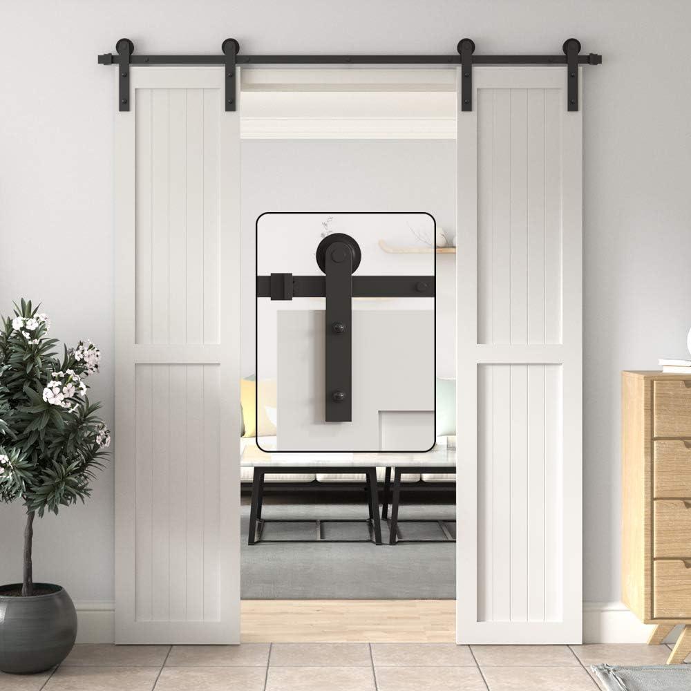 WINSOON - Kit de puerta corredera para puerta de baño, doble puerta, 6,6 pies para interior y exterior, armario de cocina, pasillo: Amazon.es: Bricolaje y herramientas