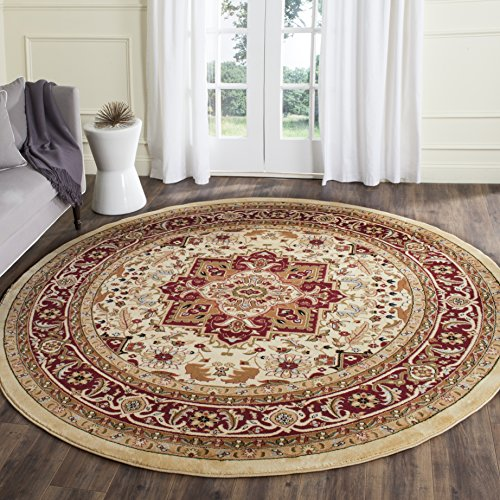 ollection LNH330A Traditional Oriental Medallion Ivory and Red Round Area Rug (5'3